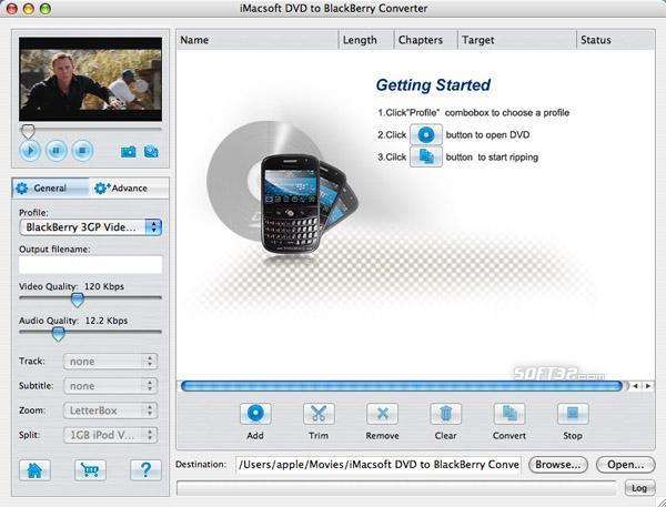 iMacsoft DVD to BlackBerry Converter for Mac Screenshot 3