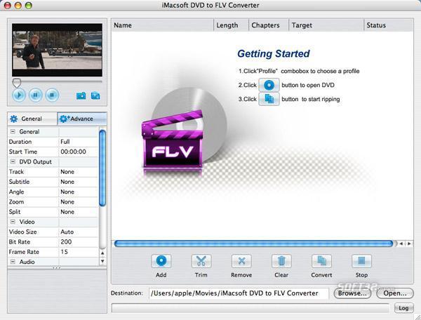 iMacsoft DVD to FLV Converter for Mac Screenshot 3
