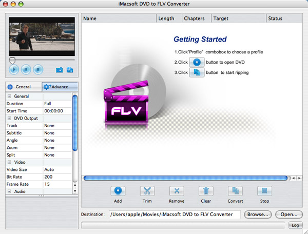 iMacsoft DVD to FLV Converter for Mac Screenshot