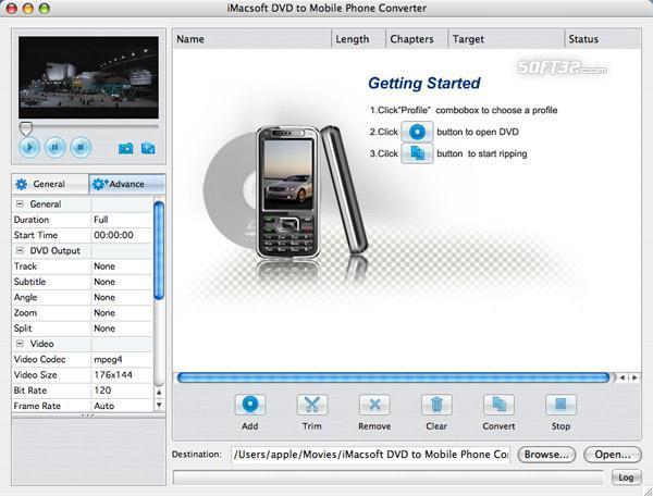 iMacsoft DVD to Mobile Phone Converter for Mac Screenshot 3