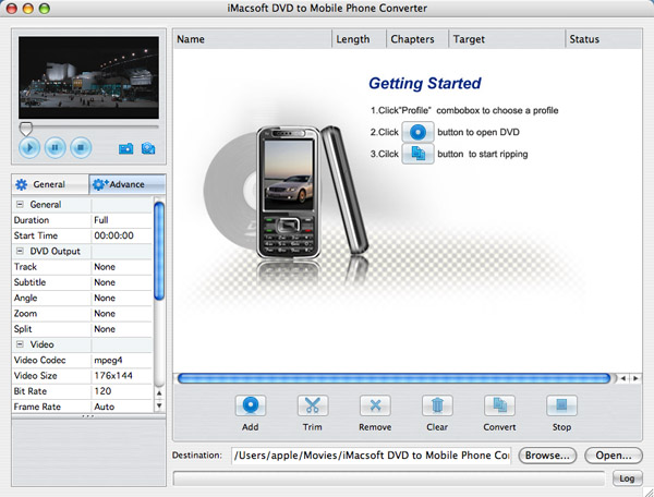 iMacsoft DVD to Mobile Phone Converter for Mac Screenshot