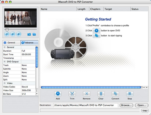 iMacsoft DVD to PSP Converter for Mac Screenshot