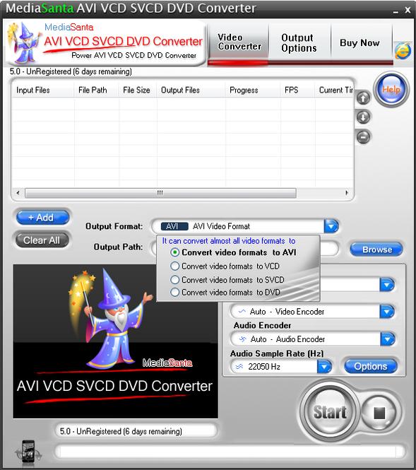 MediaSanta AVI VCD SVCD DVD Converter Screenshot