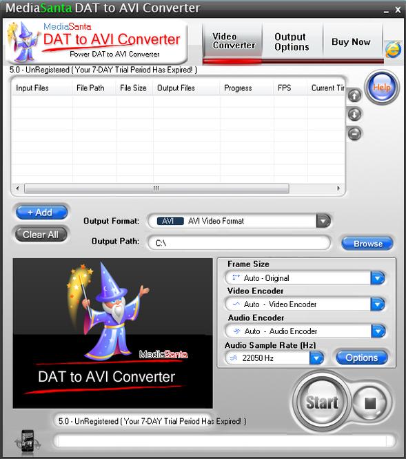 MediaSanta DAT to AVI Converter Screenshot