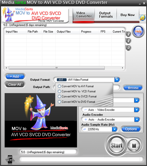 MediaSanta MOV to AVI VCD SVCD DVD Converter Screenshot 1