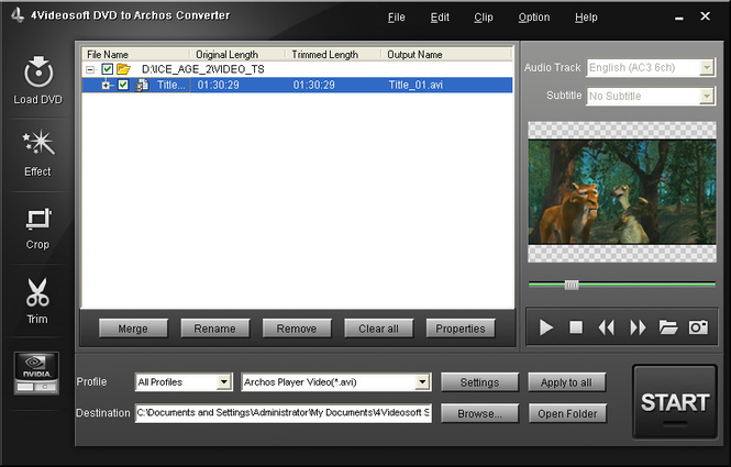 4Videosoft DVD to Archos Converter Screenshot
