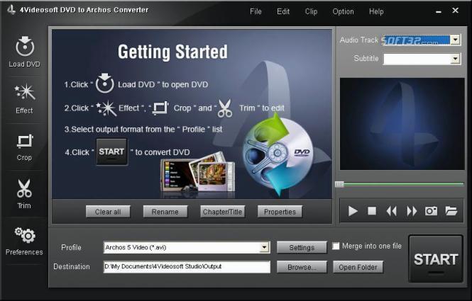 4Videosoft DVD to Archos Converter Screenshot 3