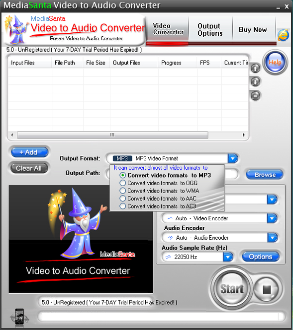 MediaSanta Video to Audio Converter Screenshot