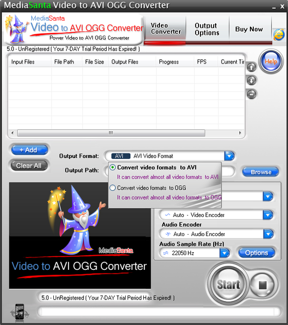 MediaSanta Video to AVI OGG Converter Screenshot
