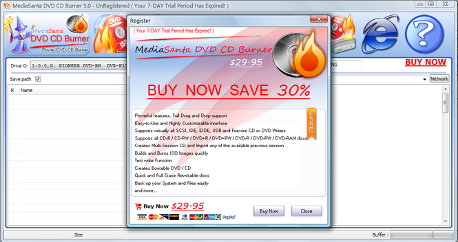 MediaSanta DVD CD Burner Screenshot