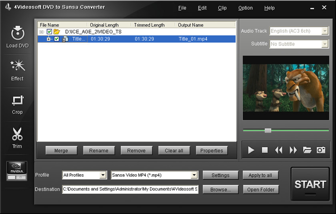 4Videosoft DVD to Sansa Converter Screenshot 1