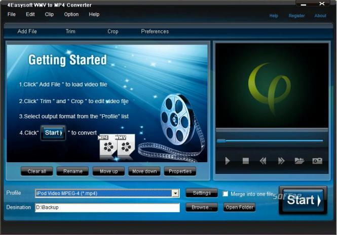 4Easysoft WMV to MP4 Converter Screenshot 2