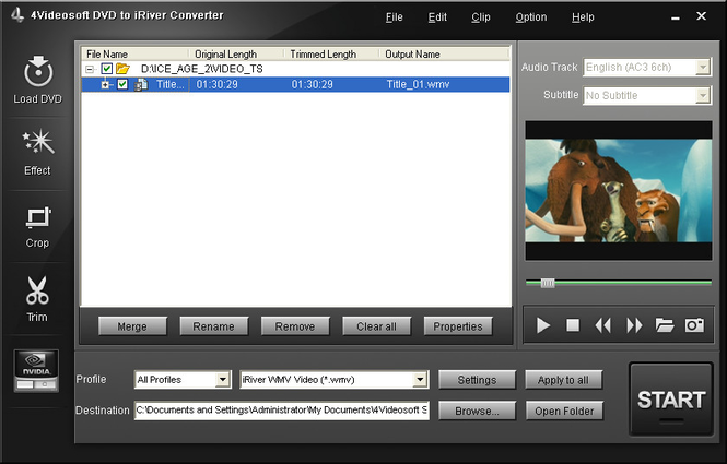 4Videosoft DVD to iRiver Converter Screenshot 1