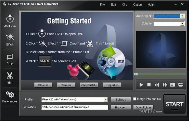 4Videosoft DVD to iRiver Converter Screenshot 2