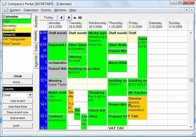 Company's Calendar Screenshot