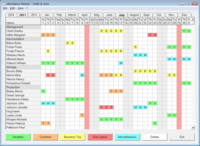 Attendance Planner Screenshot