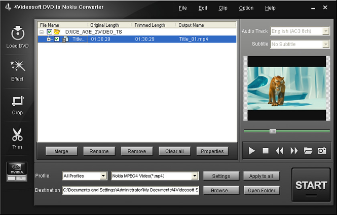4Videosoft DVD to Nokia Converter Screenshot