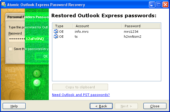 Atomic Outlook Express Password Recovery Screenshot