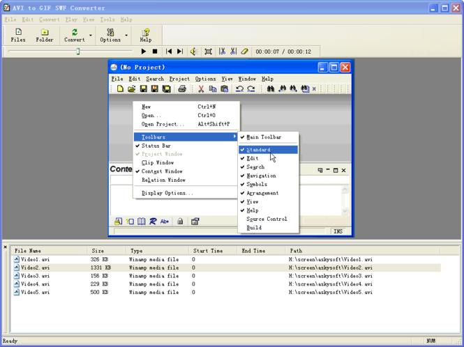 AVI to GIF SWF Converter Screenshot 1