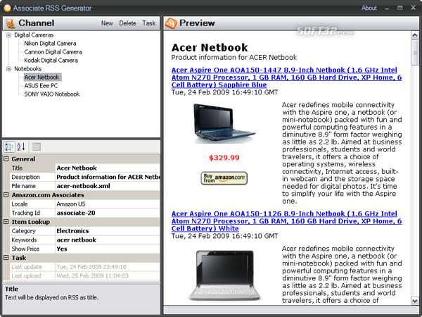 Associate RSS Generator Screenshot 3