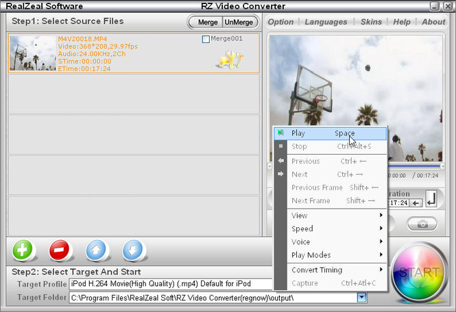 RZ iPod Video Converter Screenshot 1