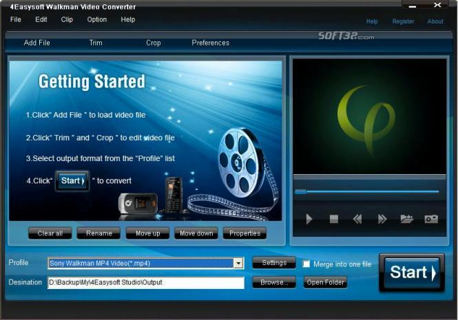 4Easysoft Walkman Video Converter Screenshot 2