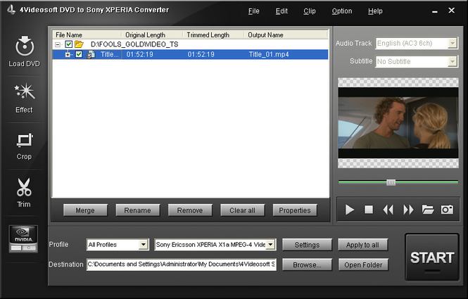 4Videosoft DVD to Sony XPERIA Converter Screenshot 1