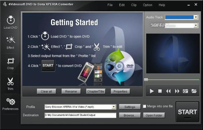 4Videosoft DVD to Sony XPERIA Converter Screenshot 2