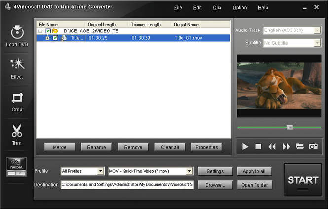 4Videosoft DVD to QuickTime Converter Screenshot 1