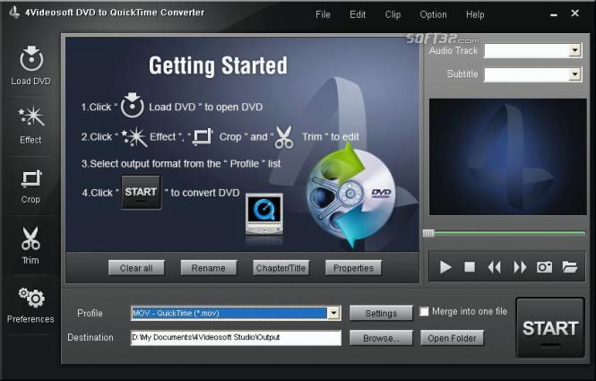4Videosoft DVD to QuickTime Converter Screenshot 2