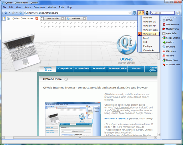 QtWeb Internet Browser Screenshot 1