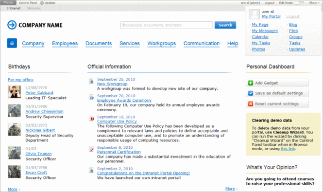 Bitrix Intranet Portal Screenshot 1