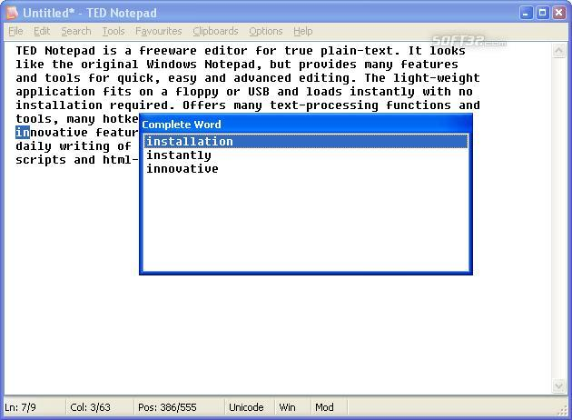 TED Notepad Screenshot 4
