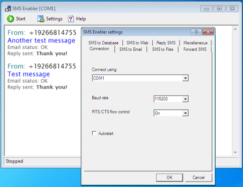 PC SMS Receiver Screenshot