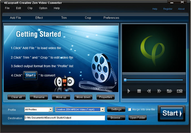 4Easysoft Creative Zen Video Converter Screenshot