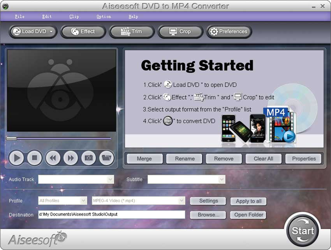 4Videosoft DVD to MP4 Converter Screenshot