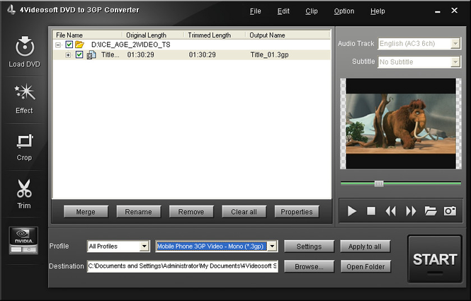 4Videosoft DVD to 3GP Converter Screenshot 1