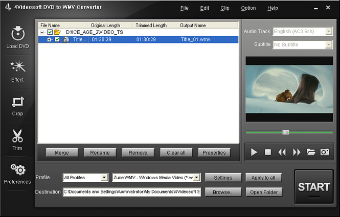 4Videosoft DVD to WMV Converter Screenshot