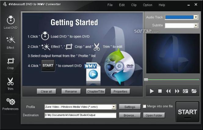 4Videosoft DVD to WMV Converter Screenshot 3