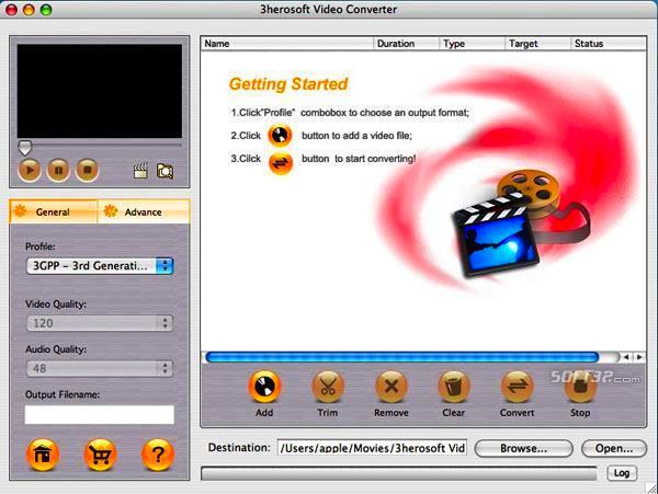 3herosoft Video Converter for Mac Screenshot 3