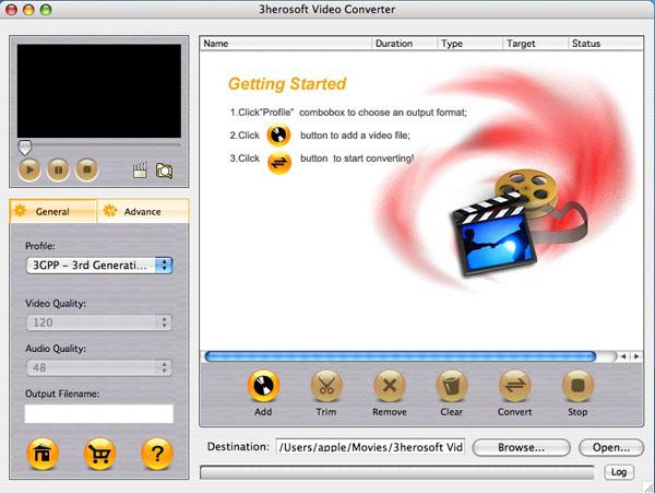 3herosoft Video Converter for Mac Screenshot