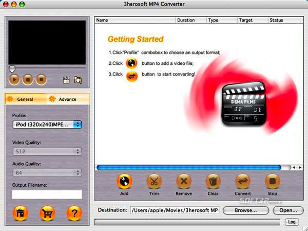 3herosoft MP4 Converter for Mac Screenshot 3
