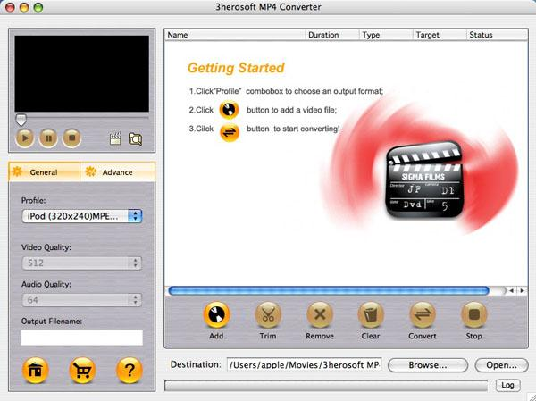 3herosoft MP4 Converter for Mac Screenshot 1