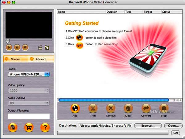 3herosoft iPhone Video Converter for Mac Screenshot 3