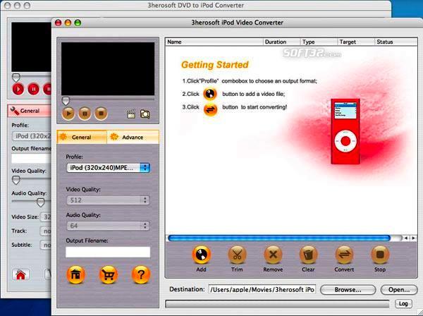 3herosoft DVD to iPod Suite for Mac Screenshot 3