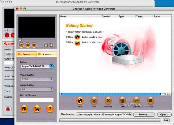 3herosoft DVD to Apple TV Suite for Mac Screenshot 3