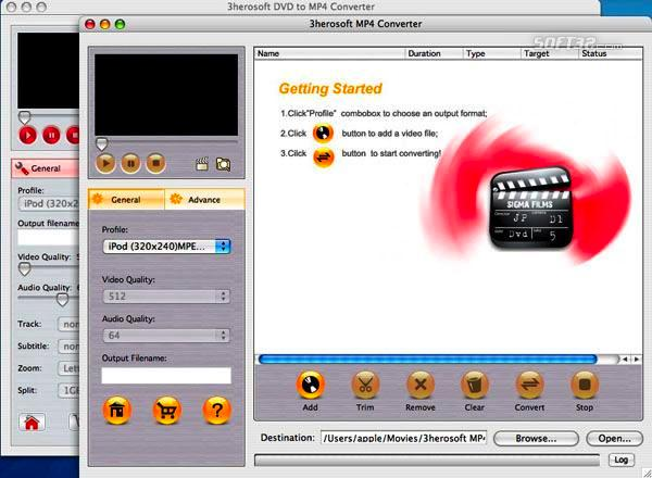 3herosoft DVD to MP4 Suite for Mac Screenshot 3