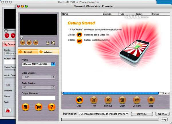 3herosoft DVD to iPhone Suite for Mac Screenshot 3