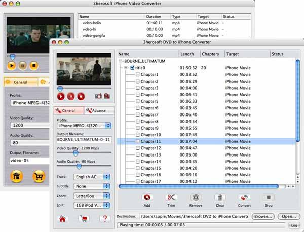 3herosoft DVD to iPhone Suite for Mac Screenshot