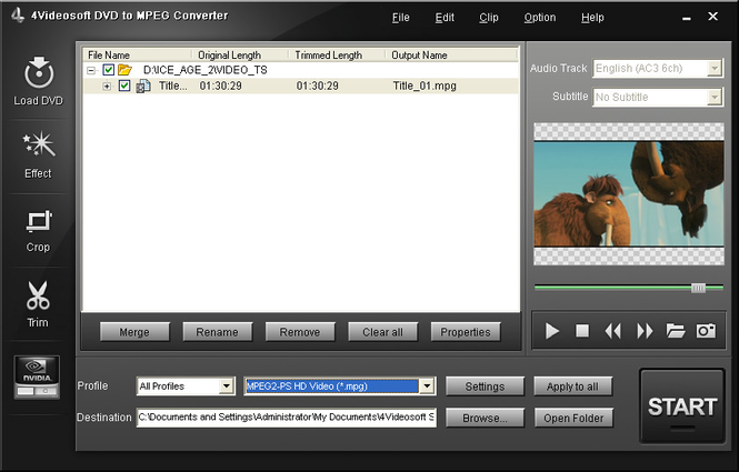 4Videosoft DVD to MPEG Converter Screenshot